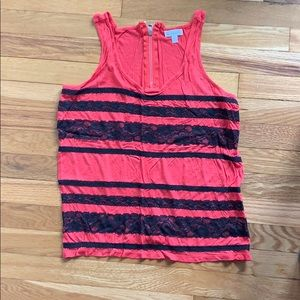 Charming Charlie Red tank w/ black lace! small.